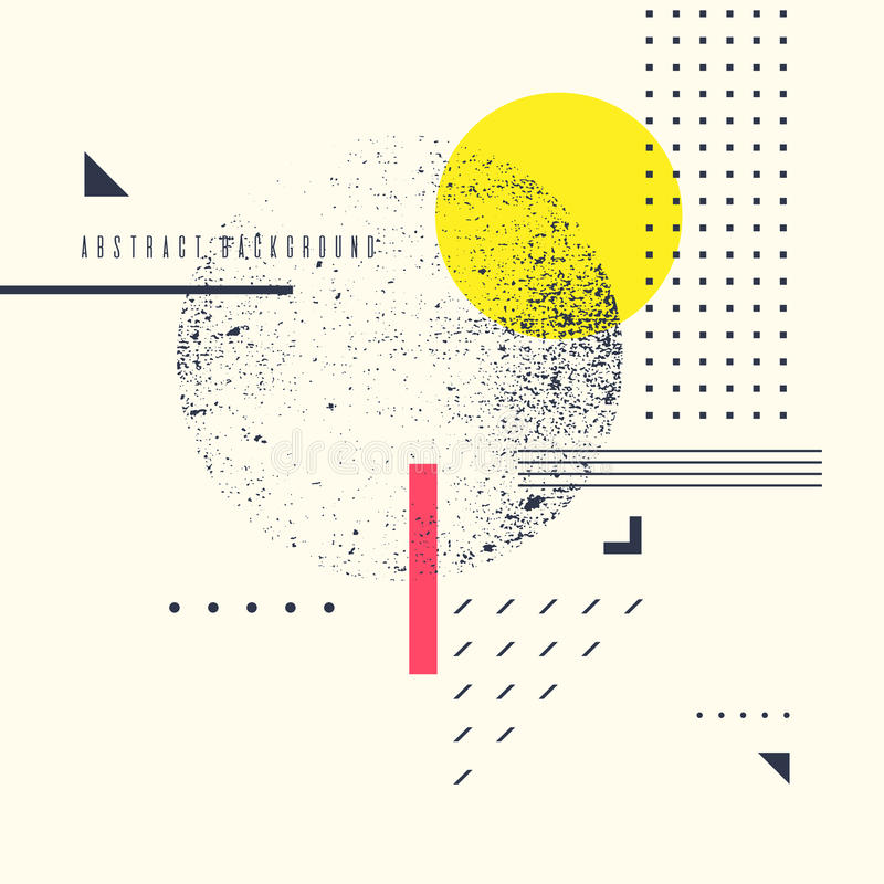 Fundo geométrico abstrato retro O cartaz com as figuras lisas ilustração royalty free