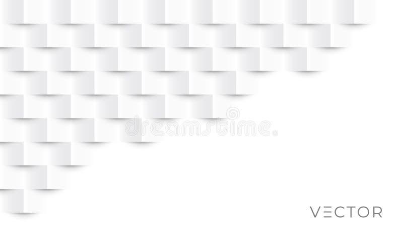 Fundo geométrico abstrato, textura de padrão de papel quadrado 3d, desenho gráfico criativo vetorial Papel de parede 3D cinzento  ilustração do vetor