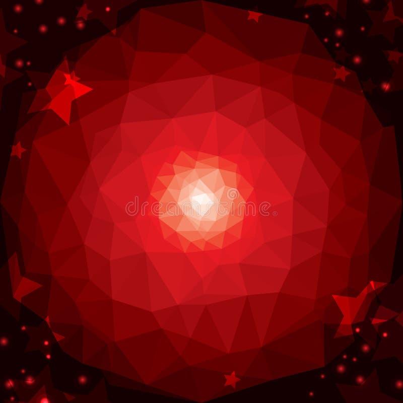 Fundo geométrico abstrato vermelho com estrelas ilustração stock