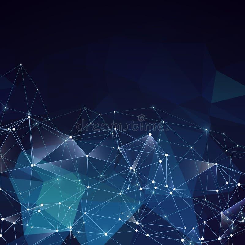 Fundo geométrico azul do vetor abstrato moderno Ideia criativa dos trabalhos em rede ilustração royalty free