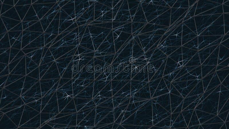 Fundo geométrico bonito do sumário com mover-se, triângulos conectados e linhas de brilho Fundo abstrato do plexo ilustração royalty free