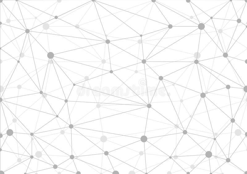 Fundo geométrico cinzento abstrato com caos de linhas e de pontos conectados ilustração stock