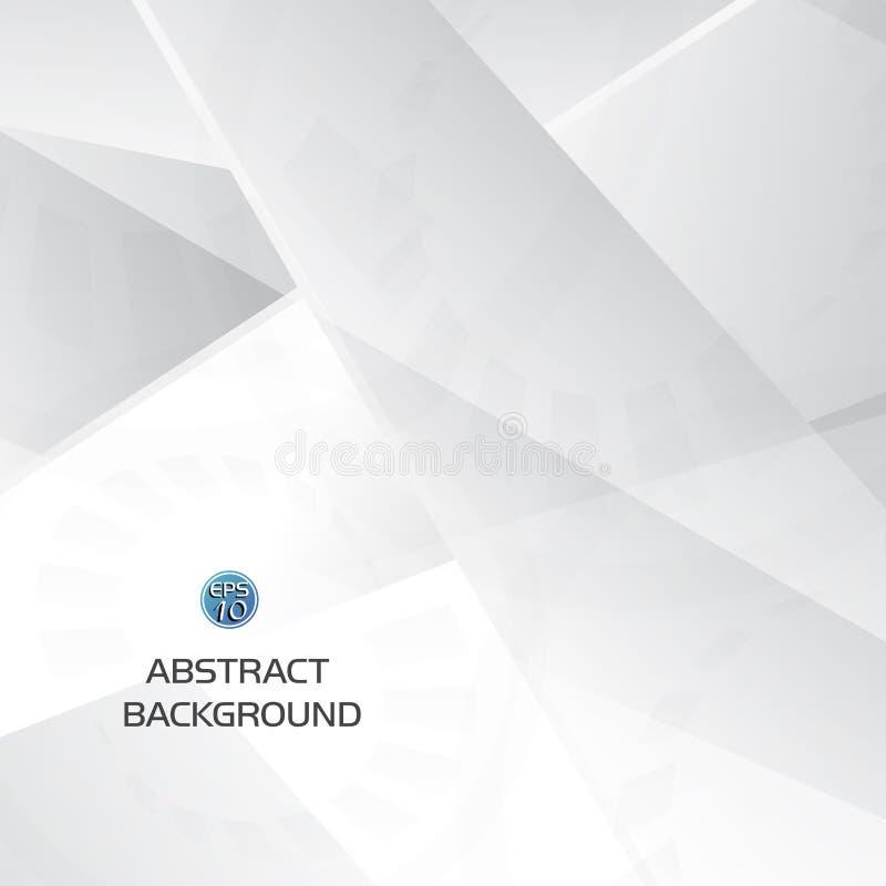 Fundo geométrico cinzento e branco abstrato da tecnologia com forma da engrenagem ilustração stock