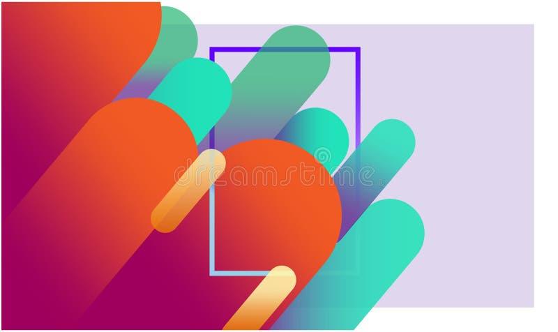 Fundo geométrico colorido abstrato Composição dinâmica vermelha e escura das formas com um quadro retangular no centro ilustração stock