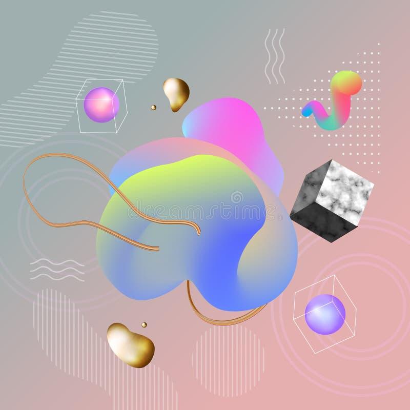 Fundo geométrico colorido com mármore O líquido dá forma ao composit ilustração do vetor