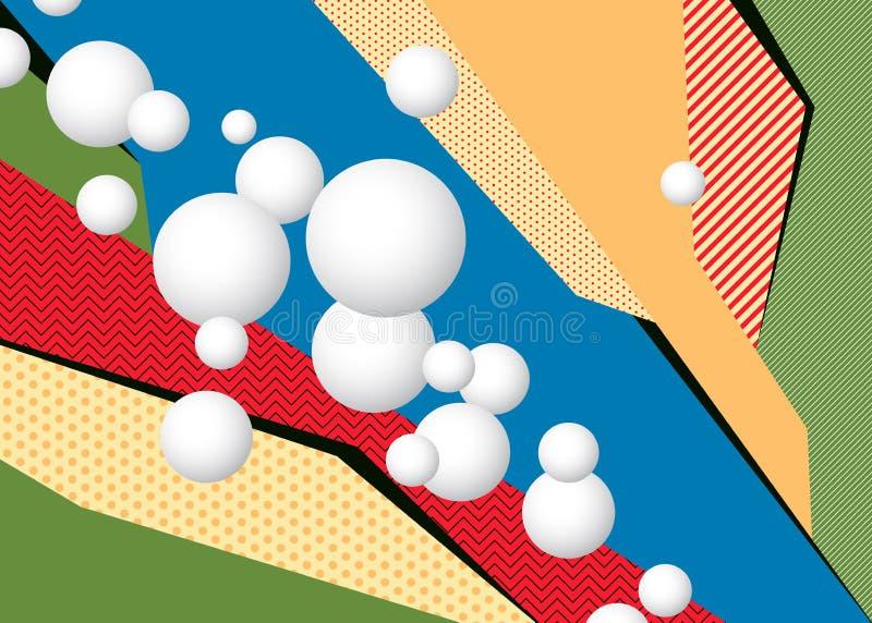 Fundo geométrico colorido do pop art com esferas ilustração royalty free