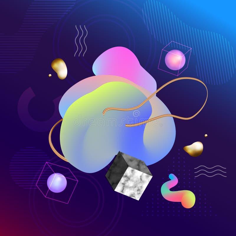 Fundo geométrico colorido do vetor com mármore O líquido dá forma a c ilustração do vetor