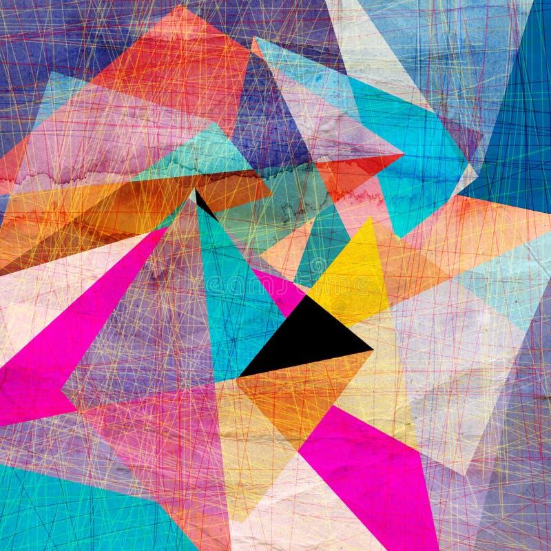Fundo geométrico da aquarela abstrata ilustração do vetor