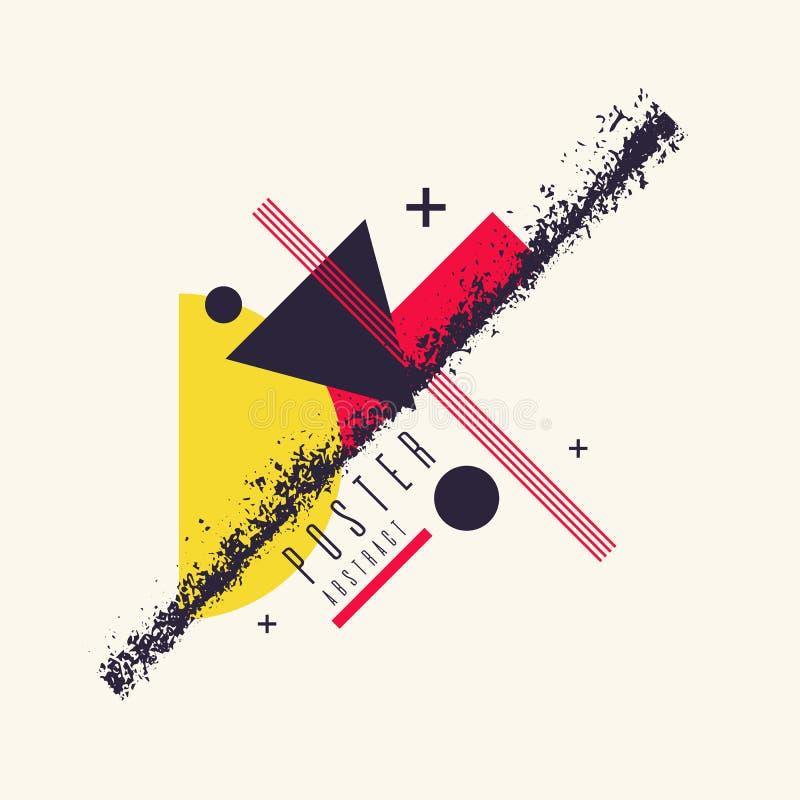 Fundo geométrico da arte abstrato moderna com estilo liso, minimalistic Poster do vetor ilustração do vetor