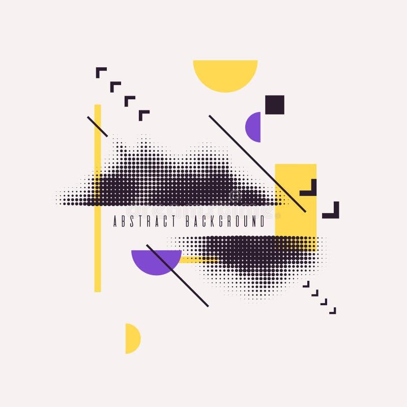 Fundo geométrico da arte abstrato moderna com plano Cartaz do vetor com elemento de intervalo mínimo ilustração royalty free