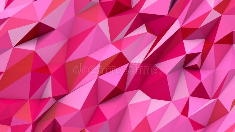 Fundo geométrico da forma das cores polis abstratas cor-de-rosa vermelhas dos triângulos imagens de stock