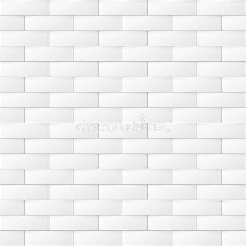 Fundo geométrico da luz do sumário Textura branca e cinzenta sem emenda do tijolo Teste padrão repetível na moda da ilusão 3d ilustração royalty free