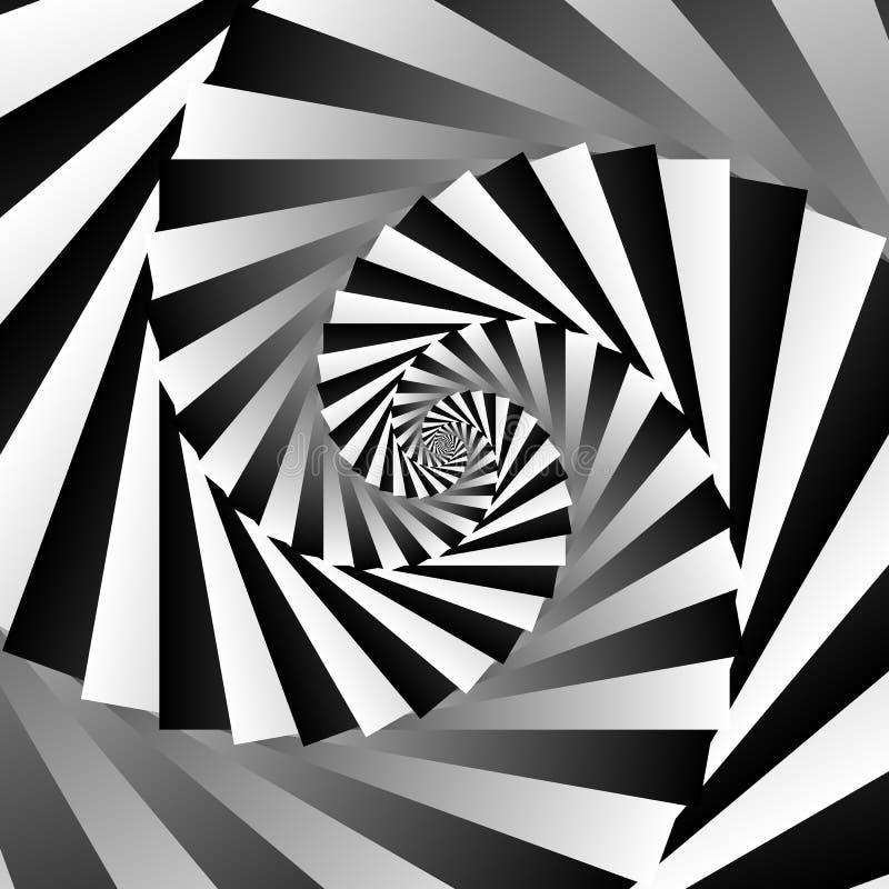 Fundo geométrico de giro do grayscale espiral - alinhador longitudinal abstrato ilustração royalty free