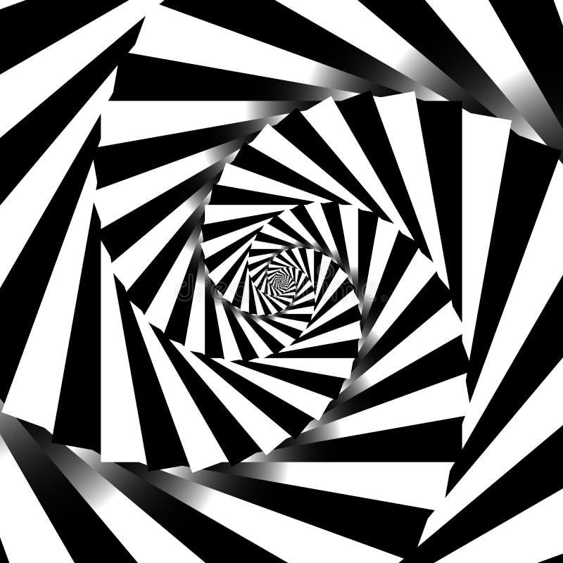 Fundo geométrico de giro do grayscale espiral - alinhador longitudinal abstrato ilustração stock
