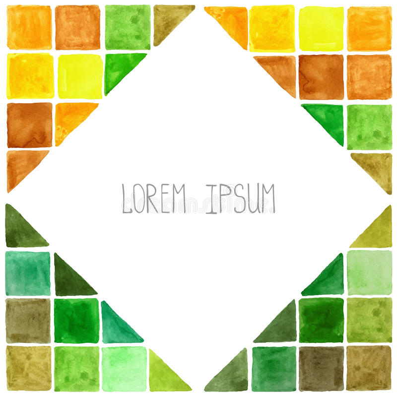 Fundo geométrico do polígono da aquarela Amarelo, verde, Brown ilustração royalty free