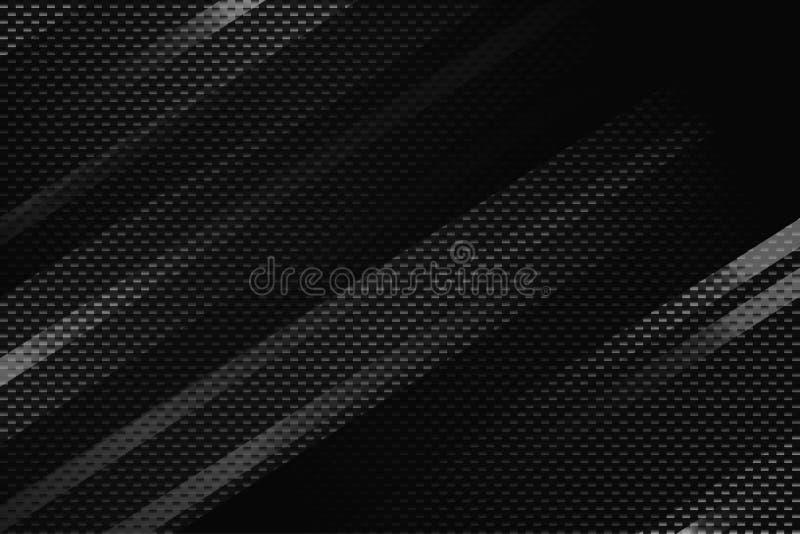 Fundo geométrico do preto do sumário com listras Textura moderna da fibra do carbono ilustração stock