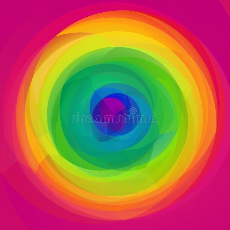 Fundo geométrico do redemoinho da arte moderna - arco-íris completo do espectro coloriu - rosa quente ilustração stock