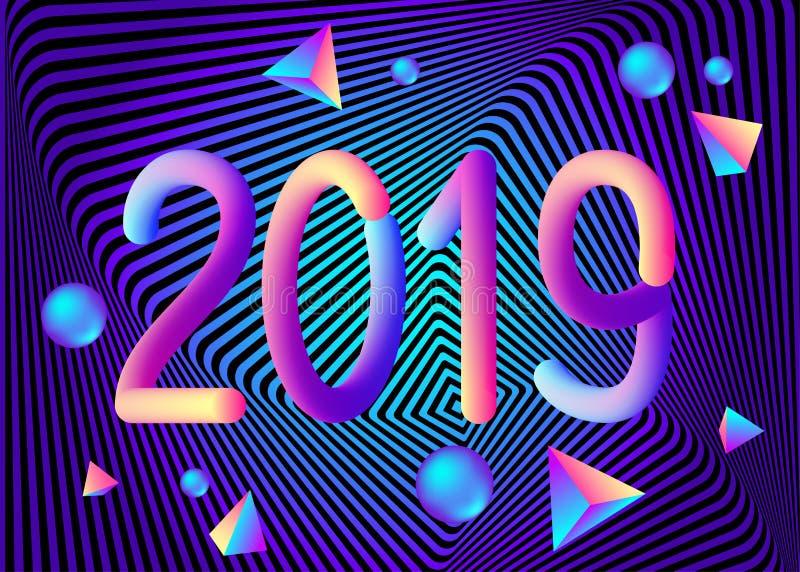 Fundo geométrico do sumário do ano 2019 novo com 3d colorido ilustração do vetor