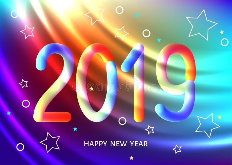 Fundo geométrico do sumário do ano 2019 novo com 3d colorido ilustração stock