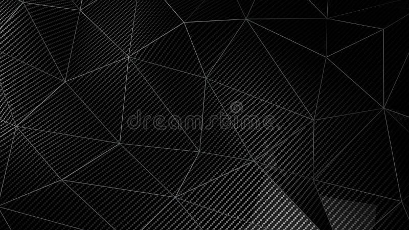 Fundo geométrico do sumário do plexo da fibra do carbono com triângulos 3d para render ilustração do vetor