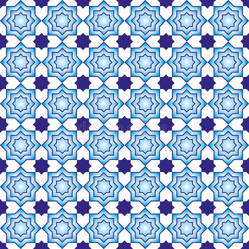 Fundo geométrico do teste padrão azul e branco ilustração stock