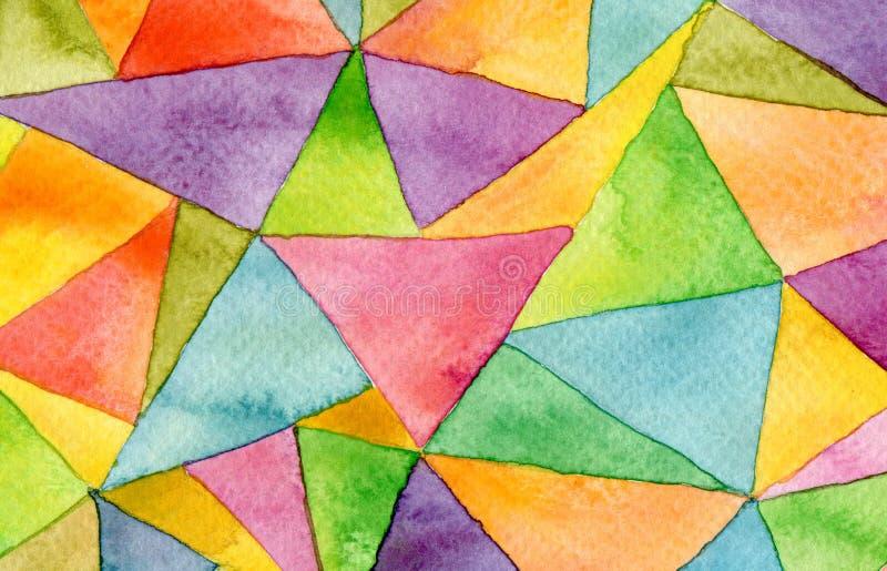 Fundo geométrico do teste padrão da aquarela abstrata ilustração stock