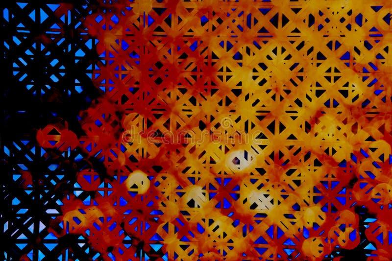 Fundo geométrico do teste padrão quadrado colorido de néon vívido azul vermelho do sumário da flor da laranja fotos de stock