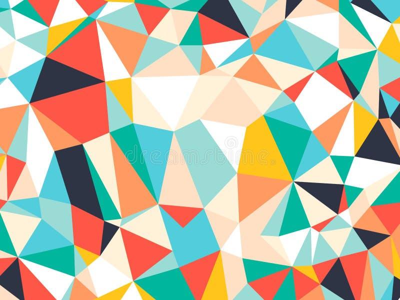 Fundo geométrico do triângulo aleatório colorido brilhante abstrato, teste padrão da ilustração do vetor ilustração stock