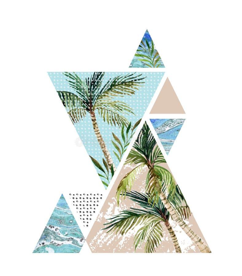 Fundo geométrico do verão abstrato ilustração stock