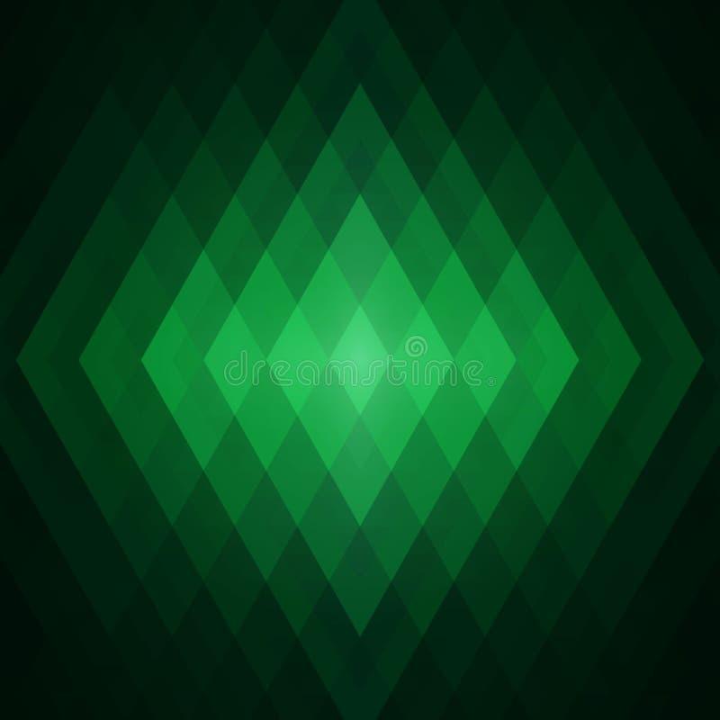 Fundo geométrico do verde do sumário dos triângulos Mosaico colorido de formas simétricas Tons e inclinações macios da cor Effe d ilustração stock