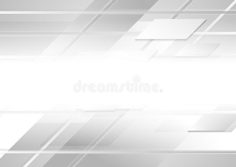 Fundo geométrico do vetor do branco cinzento da olá!-tecnologia abstrata ilustração do vetor