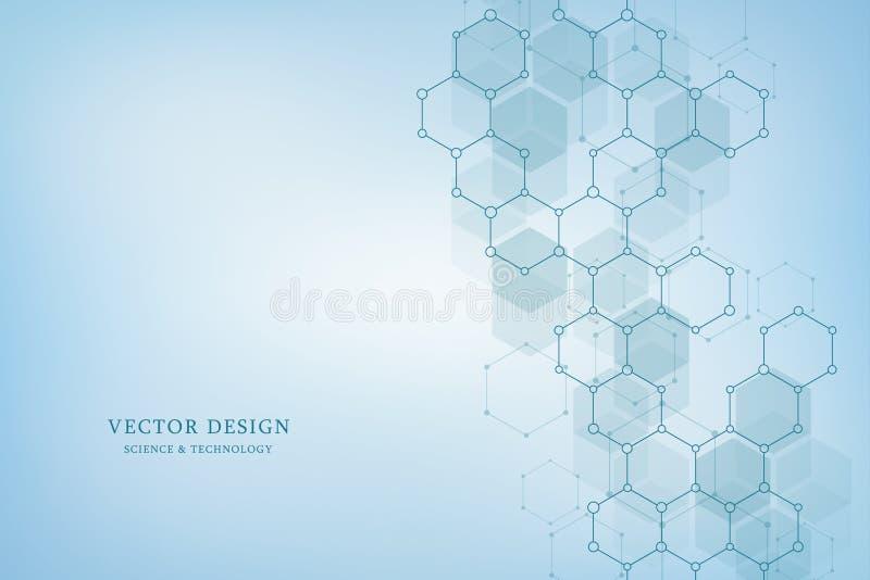 Fundo geométrico do vetor dos hexágonos Estrutura molecular abstrata e elementos químicos Médico, ciência e ilustração royalty free