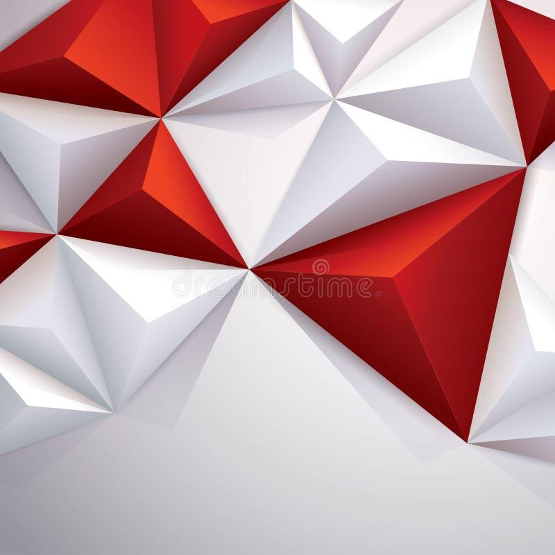 Fundo geométrico do vetor vermelho e branco. ilustração stock