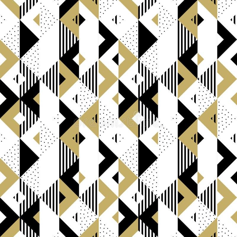 Fundo geométrico dourado do vetor do quadrado do triângulo do ouro do ornamento do teste padrão abstrato ilustração royalty free