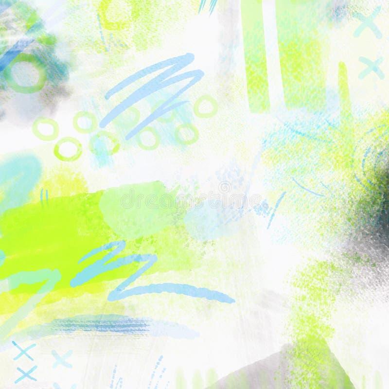 Fundo geométrico espirrado aquarela da mola abstrata Fundo da mola em cores verdes e azuis da luz - com mão ilustração royalty free