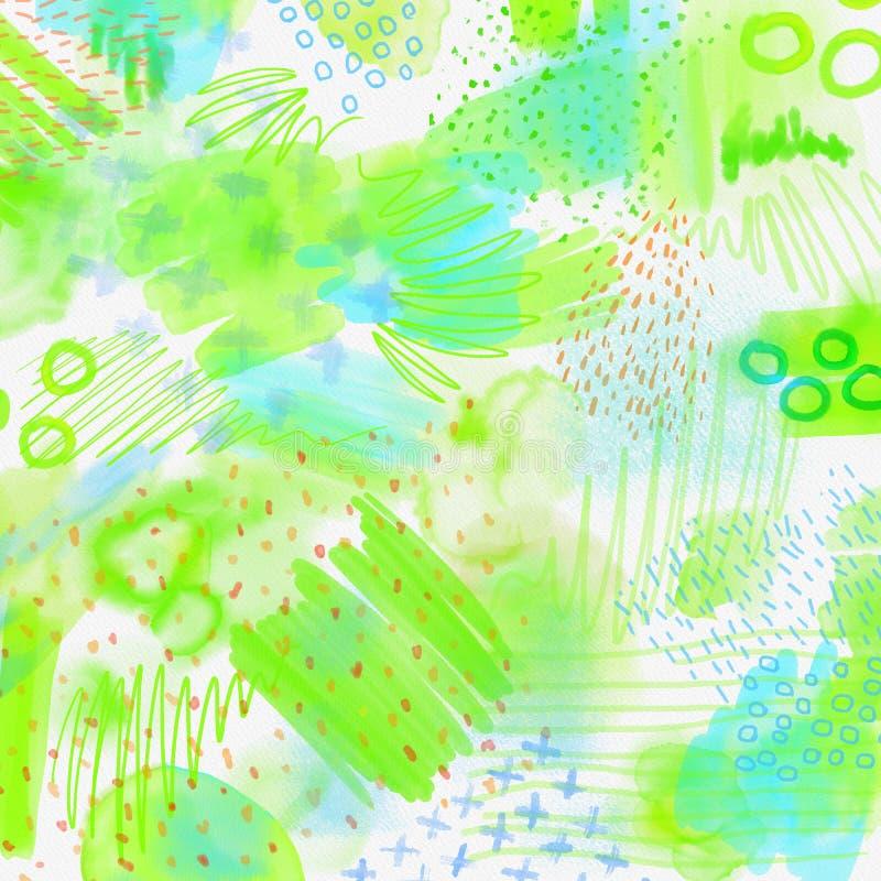 Fundo geométrico espirrado aquarela da mola abstrata Fundo da mola em cores verdes e azuis da luz - com mão ilustração do vetor