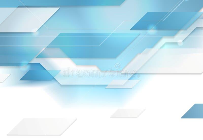 Fundo geométrico incorporado da tecnologia azul brilhante ilustração do vetor
