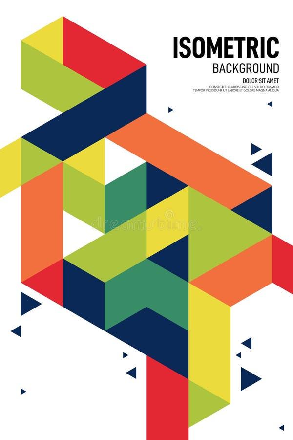Fundo geométrico isométrico do molde do projeto do cartaz da disposição da forma do sumário ilustração stock