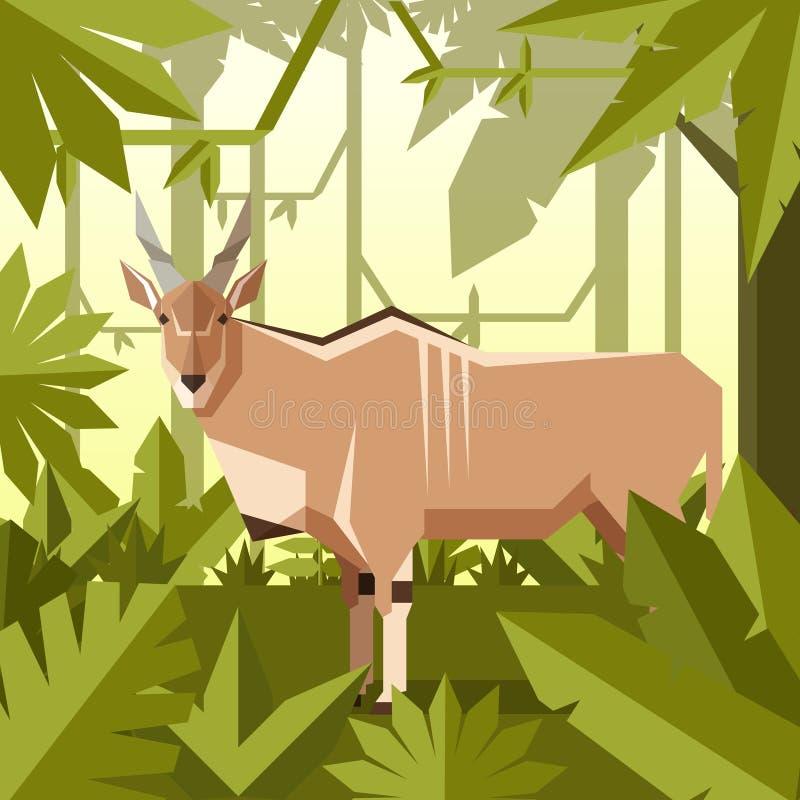 Fundo geométrico liso da selva com elã comum ilustração royalty free