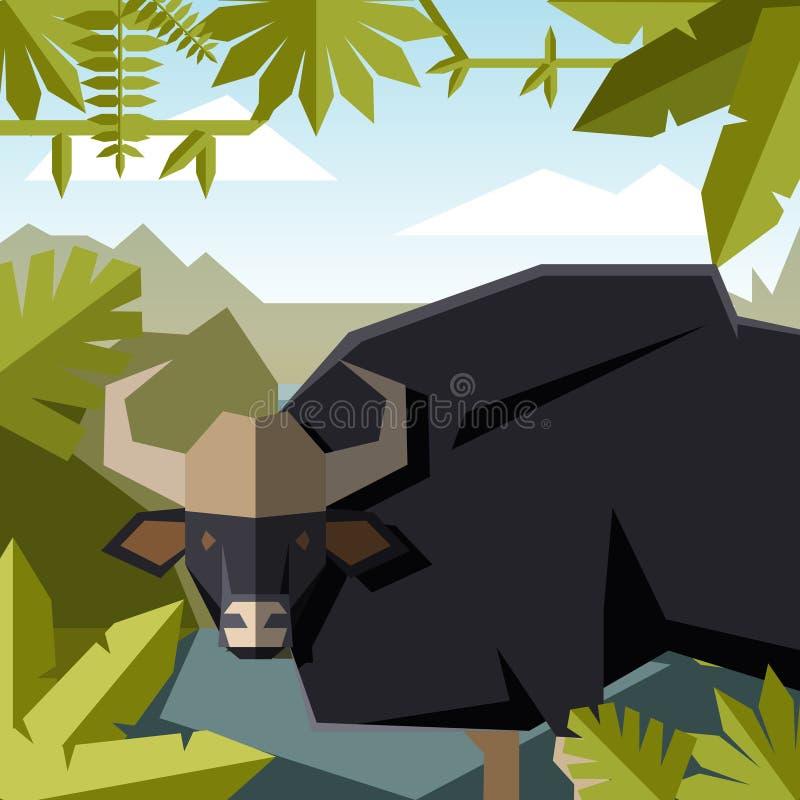 Fundo geométrico liso da selva com guar ilustração stock