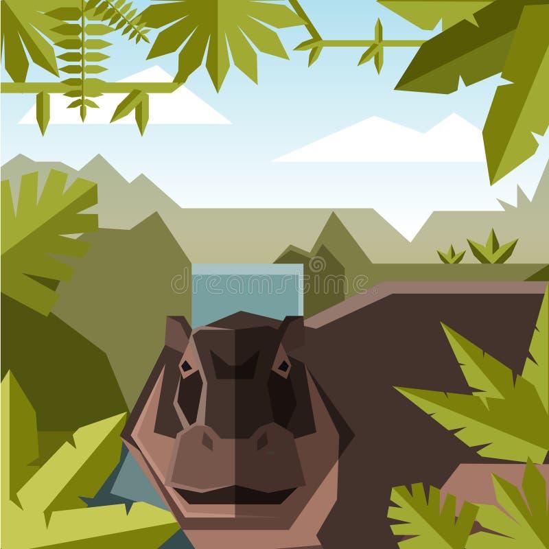 Fundo geométrico liso da selva com hipopótamo ilustração stock