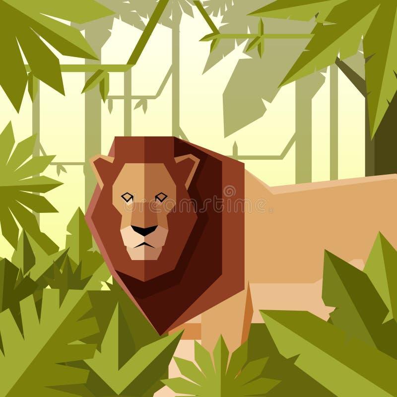 Fundo geométrico liso da selva com leão ilustração do vetor