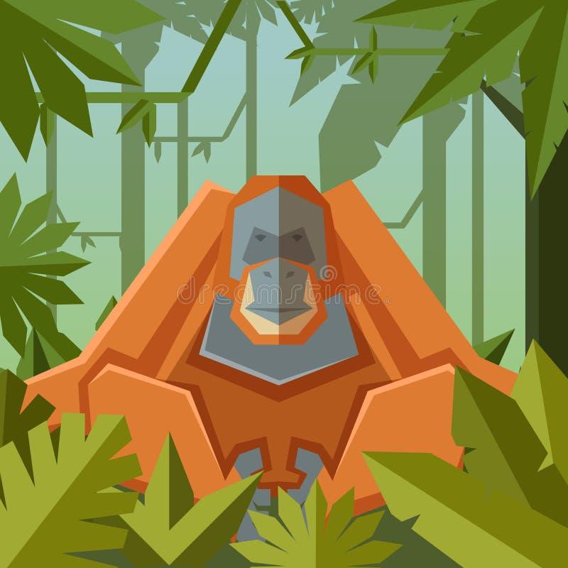 Fundo geométrico liso da selva com orangotango ilustração stock
