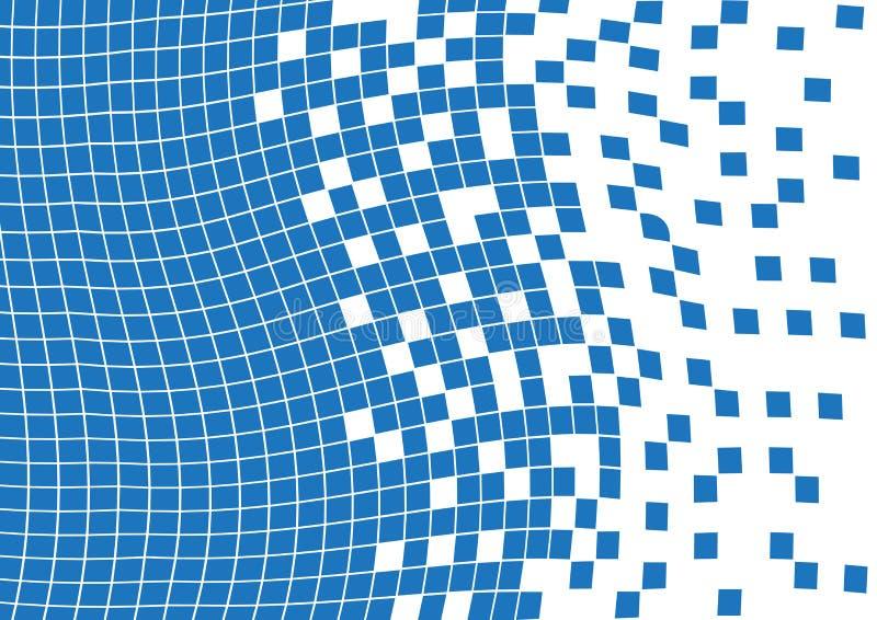 Fundo geométrico ondulado azul do sumário com quadrados Vetor ilustração stock