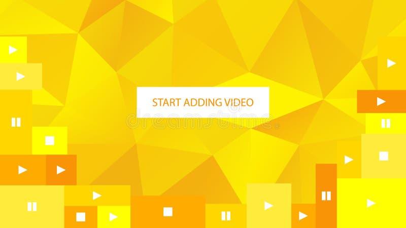 Fundo geométrico poligonal amarelo abstrato para o Web site Comece adicionar o vídeo ilustração royalty free