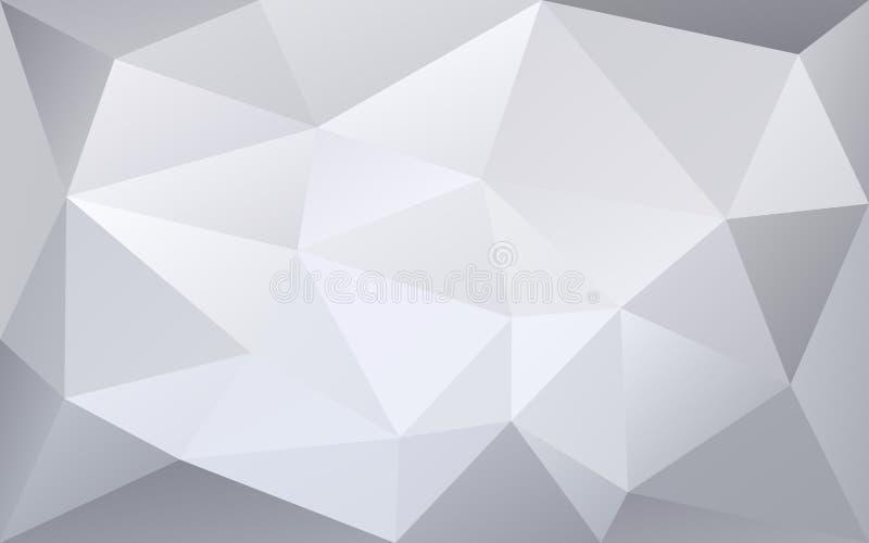 Fundo geométrico poligonal branco e cinzento do vetor, destacado ilustração stock