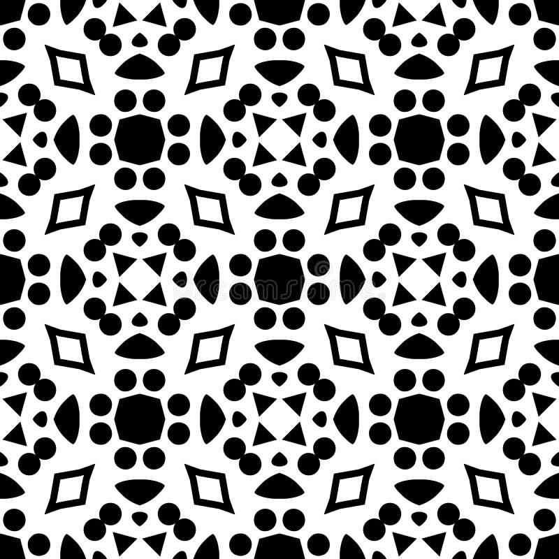 Fundo geométrico repetido sem emenda preto e branco do teste padrão da arte ilustração royalty free