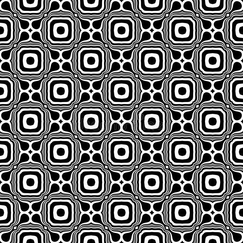 Fundo geométrico repetido sem emenda preto e branco do teste padrão da flor decorativa Matéria têxtil, livros, ilustração royalty free