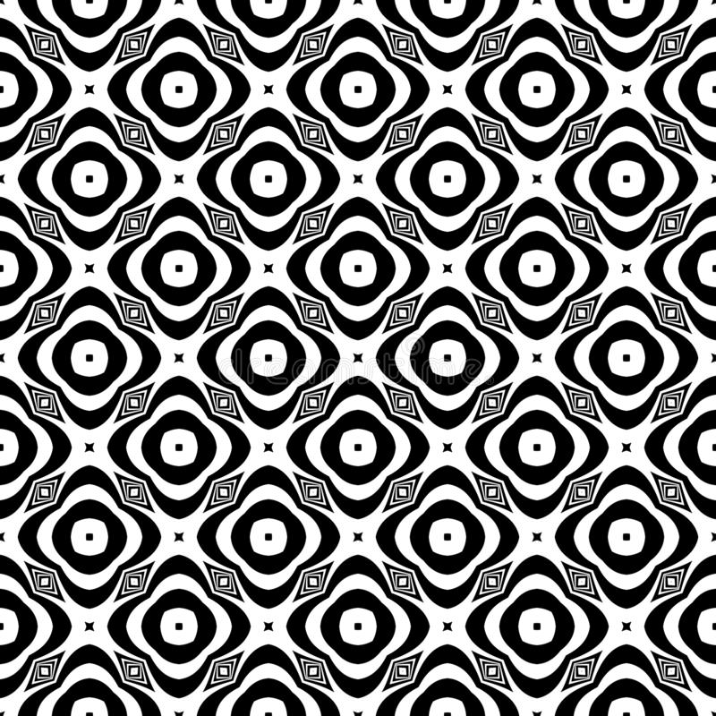 Fundo geométrico repetido sem emenda preto e branco do teste padrão da flor decorativa Matéria têxtil, livros, ilustração stock