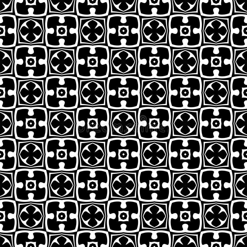 Fundo geométrico repetido sem emenda preto e branco do teste padrão da flor decorativa Matéria têxtil, livros, ilustração do vetor